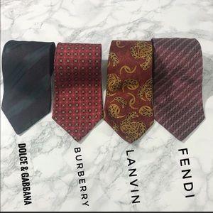 Luxury Tie Lot: Fendi FF Tie D&G Lanvin Burberry